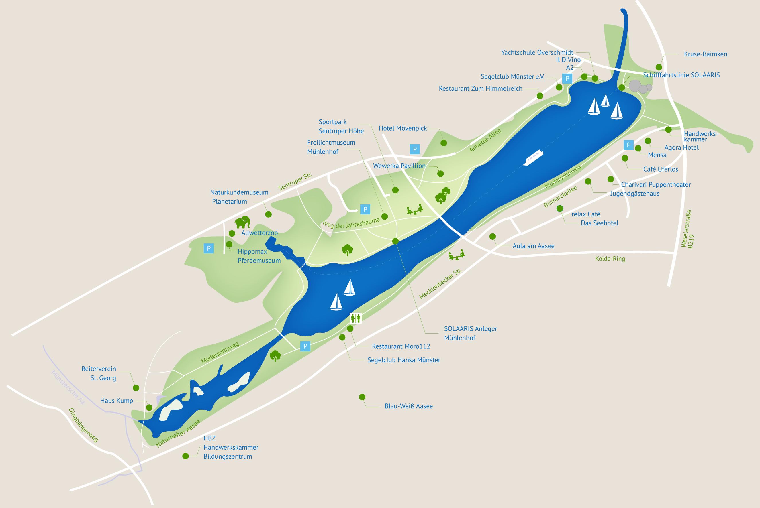 übersichtskarte und lageplan des aaseeparks